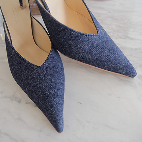 Denim stiletto mule