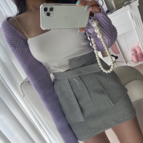 Pocket mini skirt (gray/ black)