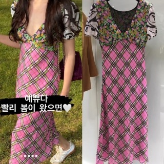 [수입]Rixo check flower dress S피팅세일 125000