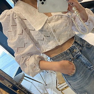 Lace punching crop blouse & jacket