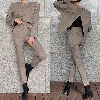 Back slit blouse & pants set (gray/ beige) 그레이m세트피팅세일