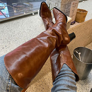 Classic western long boots (Vintage brown / Black)