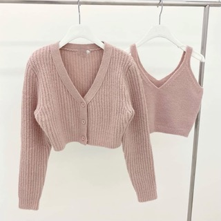 Hatchi crop cardigan set (Blue /Pink /Ivory /Black) 블루컬러피팅세일 88000