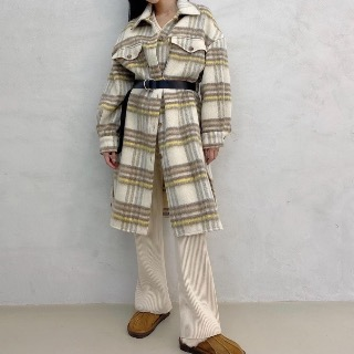 Check Wool long jacket (+belt set) 새상품세일 베이지 156000