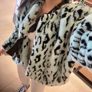 Leopard fur jacket (Beige/ mint) 민트피팅세일136000