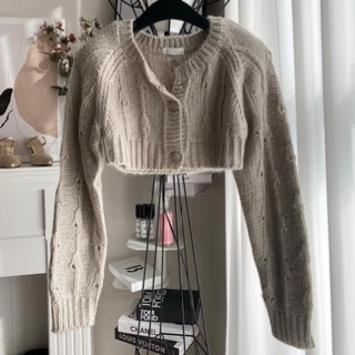 Crop knit cardigan (gray beige/ blue)