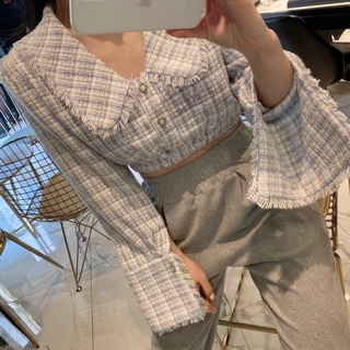Tweed crop blouse (ivory/ pink/ sky)